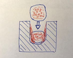 Hand-drawn sketch of insulation displacement termination function