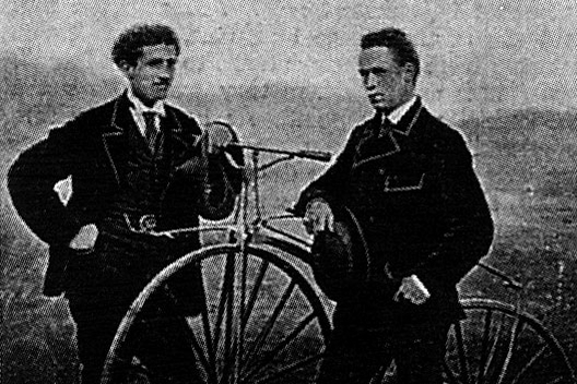 James Moore on the right with his bike with ball bearings